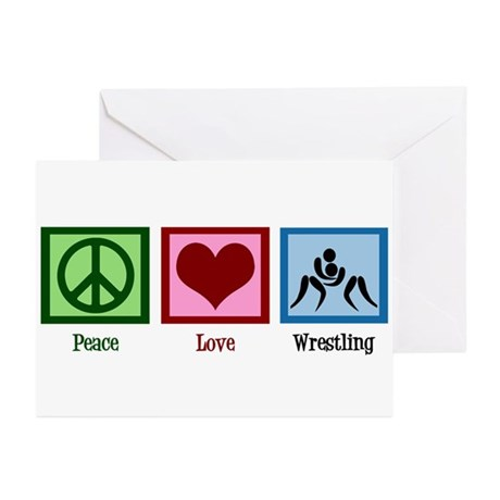 Peace Love Wrestling Greeting Cards (Pk of 10)