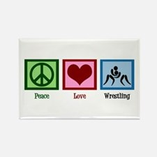 Peace Love Wrestling Rectangle Magnet