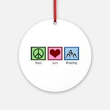 Peace Love Wrestling Ornament (Round)
