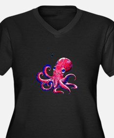 Squid Love Women's Plus Size V-Neck Dark T-Shirt