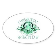 I Wear Teal for my Sister In Law (floral) Decal