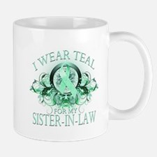 I Wear Teal for my Sister In Law (floral) Mug