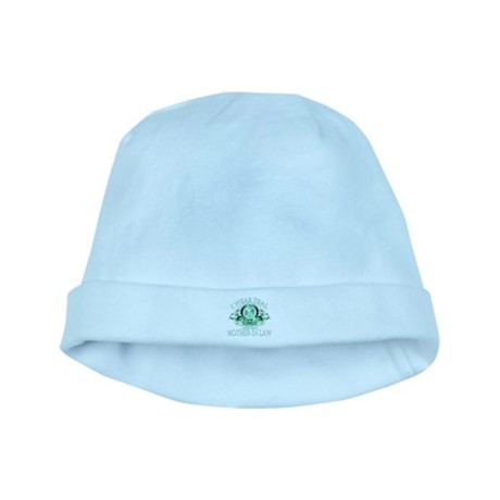 I Wear Teal for my Mother In Law (floral) baby hat