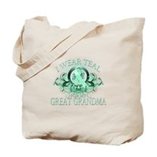 I Wear Teal for my Great Grandma (floral) Tote Bag