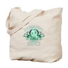 I Wear Teal for my Fiance (floral) Tote Bag