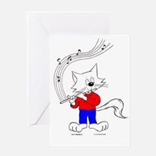 Catoons™ Flute Cat Greeting Card