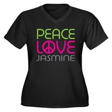 Peace Love Jasmine Women's Plus Size V-Neck Dark T