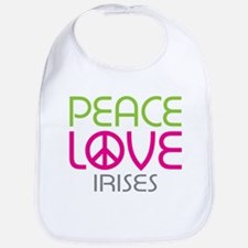 Peace Love Irises Bib