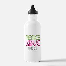 Peace Love Irises Water Bottle