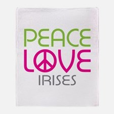 Peace Love Irises Throw Blanket