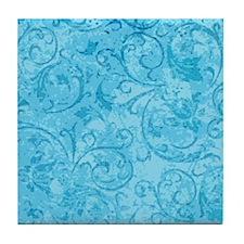 Antique Swirls Blue Tile Coaster