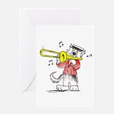 Catoons™ Trombone Cat Greeting Card