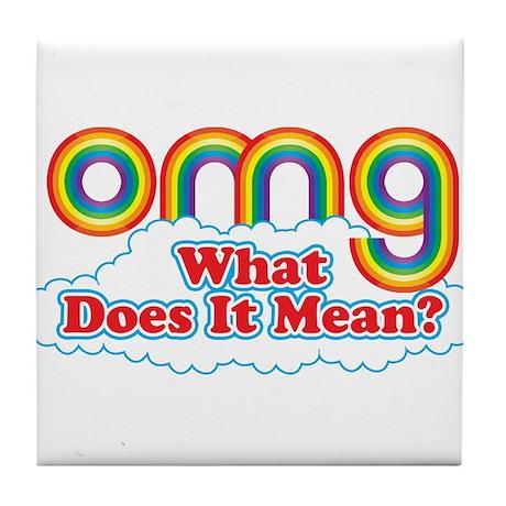 Double Rainbow OMG Tile Coaster