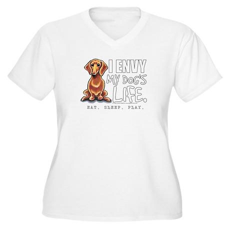 Red Dachshund Envy Women's Plus Size V-Neck T-Shir
