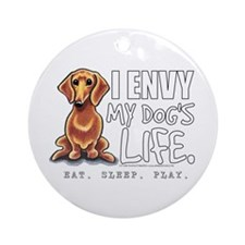 Red Dachshund Envy Ornament (Round)