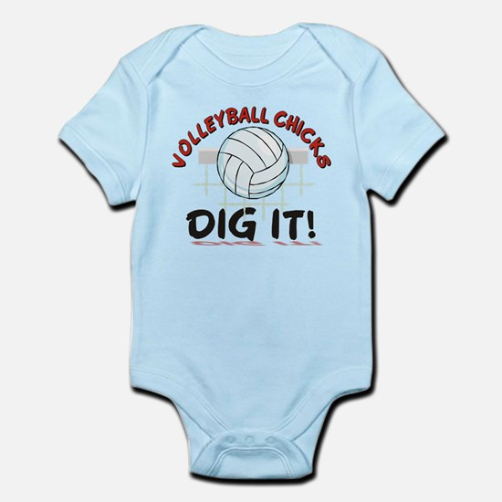 VOLLEYBALL CHICKS DIG IT Infant Bodysuit