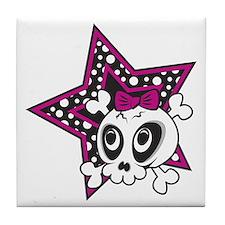 Girly Emo Skull Tile Coaster