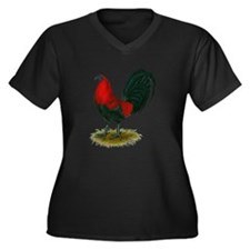 Big Red Rooster Women's Plus Size V-Neck Dark T-Sh