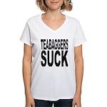 Teabaggers Suck Women's V-Neck T-Shirt