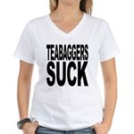Teabaggers Suck Women's V-Neck T-Shirt
