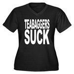 Teabaggers Suck Women's Plus Size V-Neck Dark T-Sh