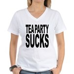 Tea Party Sucks Women's V-Neck T-Shirt
