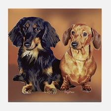 Two Dachshunds Portrait Tile Coaster