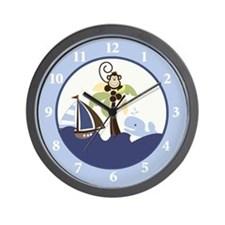 Ahoy Mate Monkey Sailboat Wall Clock