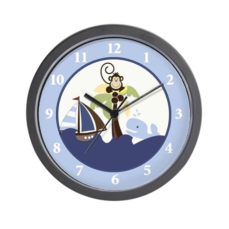 Ahoy Mate Monkey Sailboat Wall Clock