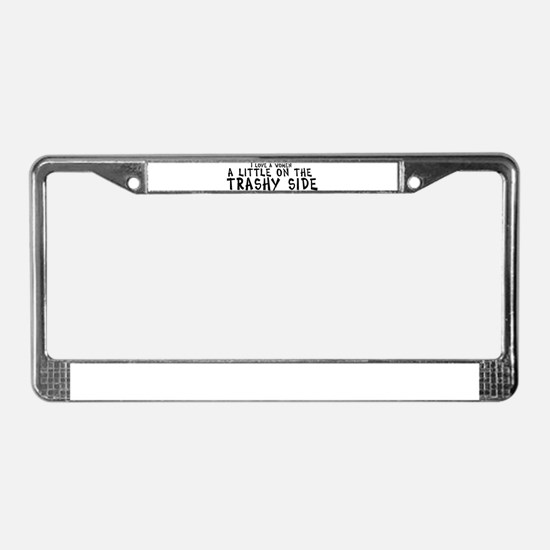 I love a women a little on th License Plate Frame