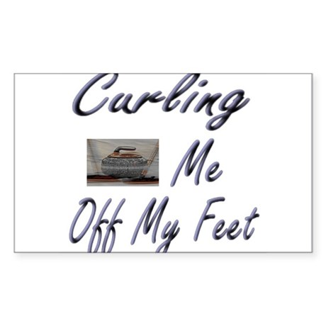 Curling Swept Me Off My Feet Rectangle Sticker