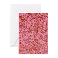 Antique Scrolls Pink Greeting Card