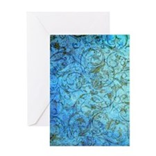 Antique Scrolls Blue Greeting Card