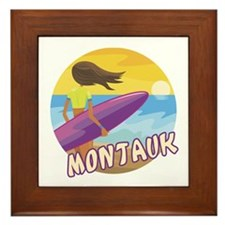 Surf Girl Montauk Framed Tile
