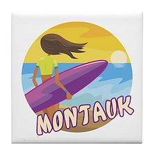 Surf Girl Montauk Tile Coaster