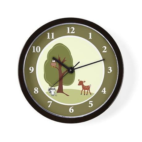 Woodland Deer, Raccoon, Owl Wall Clock