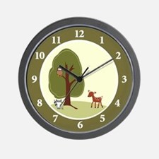 Woodland Deer, Raccoon, Owl Wall Clock