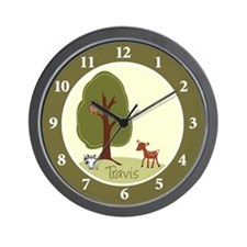 Woodland Deer, Raccoon and Owl Wall Clock - TRAVIS