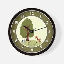 Woodland Deer, Raccoon and Owl Wall Clock - TRAVIS