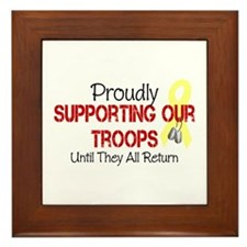 Proudly Supporting Our Troops Framed Tile