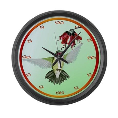 Red Throated Hummingbird Large Wall Clock
