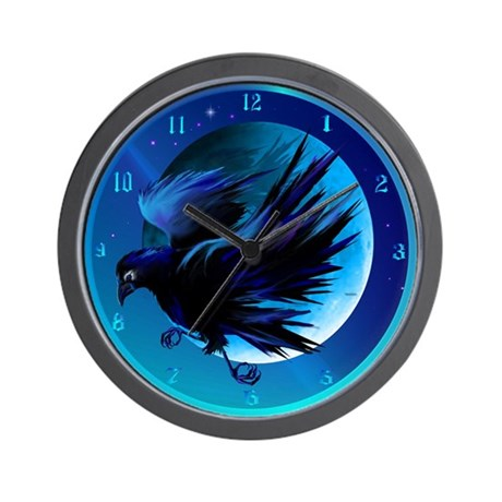 Raven and Moon Wall Clock