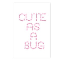 cute as a bug-pink Postcards (Package of 8)
