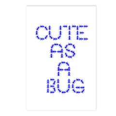 cute as a bug-blue Postcards (Package of 8)