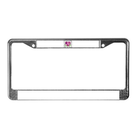 VALENTINE STAMP : flowers License Plate Frame