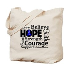 Colon Cancer Hope Collage Tote Bag