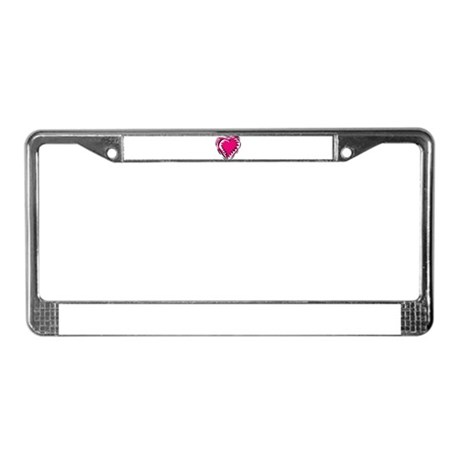 HEART {21} : pink/black License Plate Frame