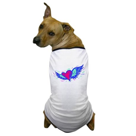 HEART & WINGS {1} : blue/pink Dog T-Shirt