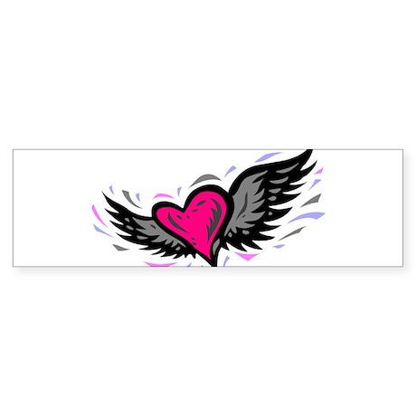 HEART & WINGS {1} : pink/gray Sticker (Bumper)