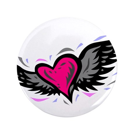 """HEART & WINGS {1} : pink/gray 3.5"""" Button (100 pac"""